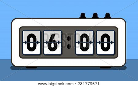 Alarm Clock With Analog Boarding Font Illustration. Isolated Retro Clock Or Flip Counter Panel On Bl