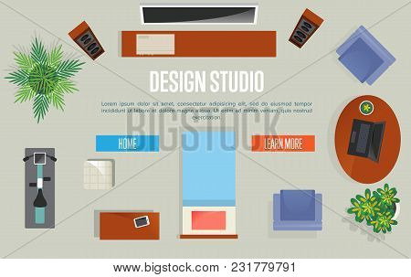 Design Studio Concept With Top View Apartment Illustration. Living Room With Armchair, Table, Exerci