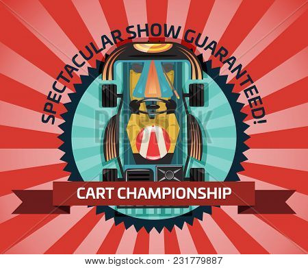 Cart Championship Or Auto Pilots Competition Illustration. Outdoor Auto Speed Racing, Extreme Kartin