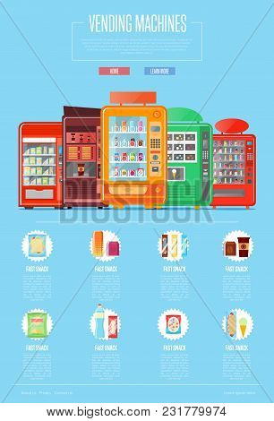 Automatic Vending Machine Set Illustration. Cold Drink Can, Snack, Chips Packaging, Hot Dog, Sandwic