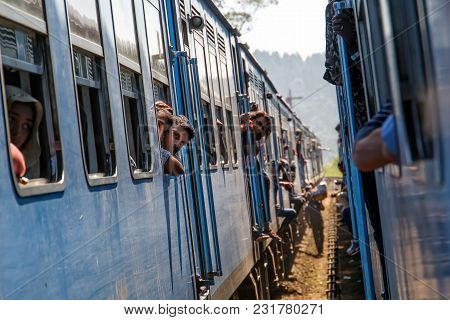 Kandy, Sri Lanka - January 8, 2018. Two Passenger Trains Meet At The Railway Station On A Sunny Day