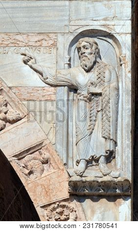 VERONA, ITALY - MAY 27: Saint Oliver, statue on the portal of the Cathedral dedicated to the Blessed Virgin Mary under the designation Santa Maria Matricolare in Verona, Italy, on May 27, 2017.