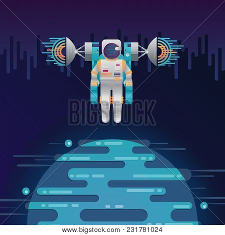 Vector Illustration Of Sci-fi Planet In Space And Astronaut With Radar Dish Station With Sound Or Ra