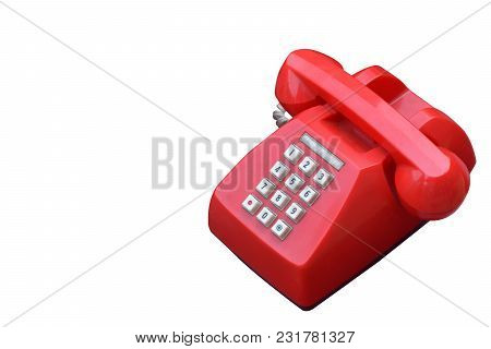 Side View Red Antique Digital Telephone On White Background,object,technology,copy Space