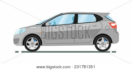 Gray Hatchback Citycar Isolated On White Background Illustration. Modern Automobile. Side View Of Fa