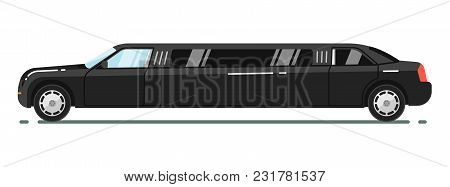 Black Luxurious Limousine Illustration Isolated On White Background. Premium People Transportation C