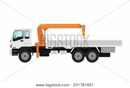 Commercial Truck Mounted Crane Isolated On White Background Illustration. Modern Mobile Hydraulic Cr