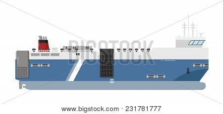 Ferryboat Isolated On White Background Illustration. Freight Ship Side View. Commercial Vessel For C
