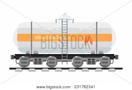 Railway Tank For Transportation Of Liquid And Loose Freights Isolated On White Background Illustrati