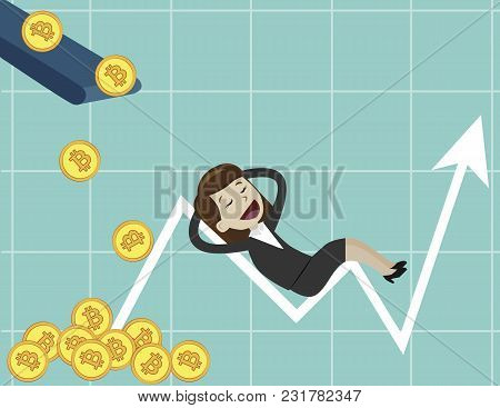 Businessman Looking For Growth Chart , Money And Pointing Finger To Raise The Graph Get A Lot Of Mon