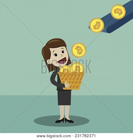 Businessman Put Money In A Basket. Business Has A Profit.