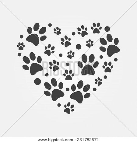 Dark Paw Prints In Heart Shape Illustration - Vector Sign Made With Flat Animals Footprints