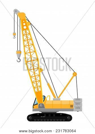 Yellow crawler crane isolated on white background illustration. Construction machine in flat design. Building equipment. Lifting boom crane. Commercial vehicle. poster