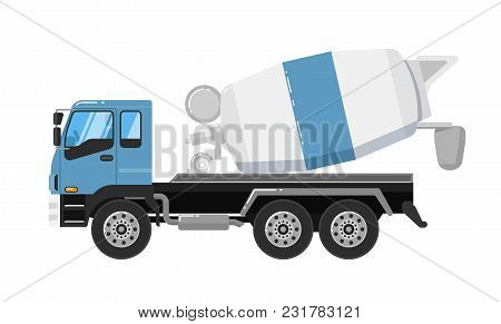 Concrete Mixer Truck Isolated On White Background Illustration. Construction Machine In Flat Design.