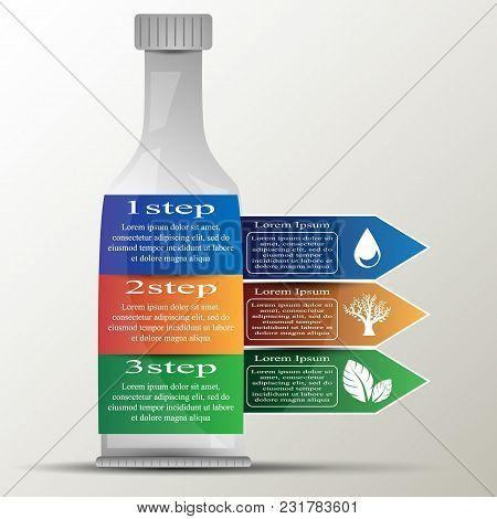 The Vector Info Graphic.bottle Silhouette With Colored Arrows