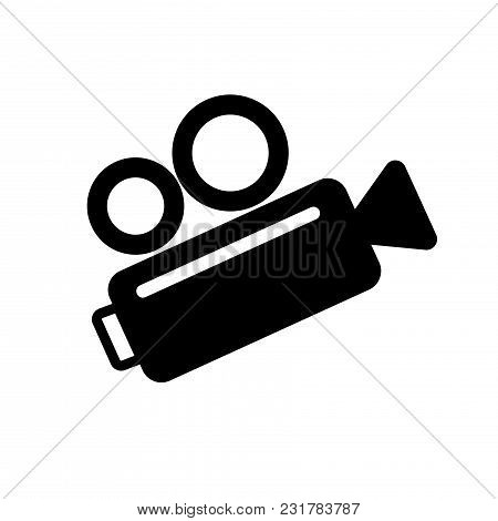 Video Camera Icon, Retro Icon. Vector Illustration On White Backgraund