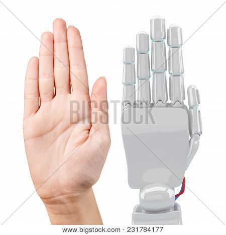Human And Robotic Hand Together. Cooperation Concept. 3d Rendering.