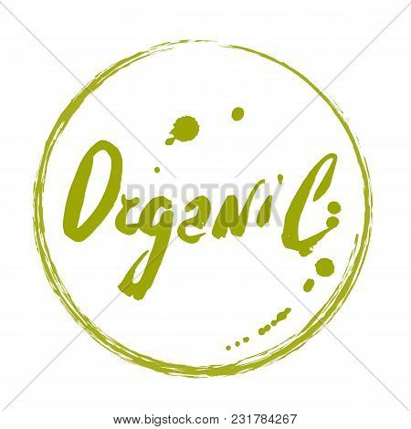 Organic Hand Drawn Label Isolated Illustration. Healthy And Lifestyle Vegan Symbol. Organic Hand Ske
