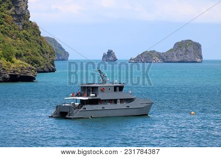 The Ships Of The Government Or Military In The Sea With Ocean And Islands Background In Thailand