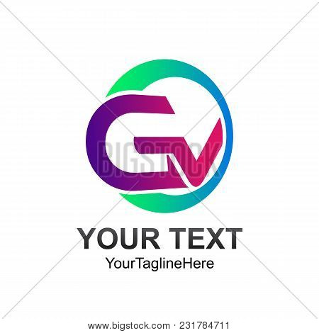 Initial Letter Gv Logo Template Colorfull Circle Design For Business And Company Identity