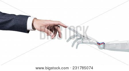 Human Hand Touching An Android Hand. Isolated On White Background. 3d Rendering.