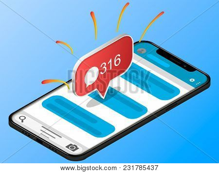 Isometric Concept With Smartphone And Incoming Messages. New Mail, Sms. E-mail Notification. Vector