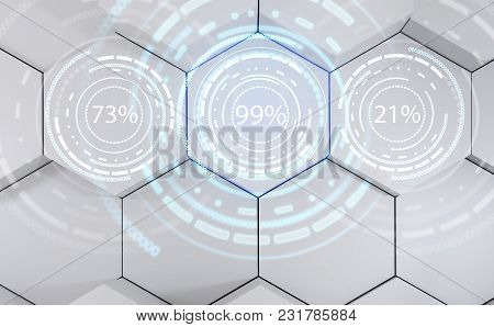 Futuristic Loading Circle Rings. Display Of Waiting Time Load. Over Gray Hexagons Background. 3d Ren