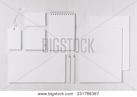 Corporate Identity Template With Black White Paper Stationery Set On Soft White Elegans Wood Board.