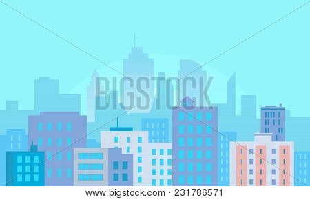 Flat Day City Buildings On Blue Background