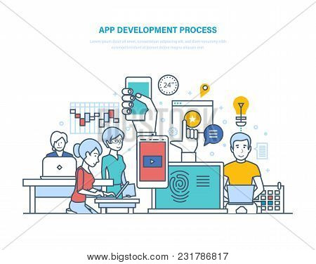 App Development Process. Application Development, Web Site Coding, Programming, Web Design, Developm