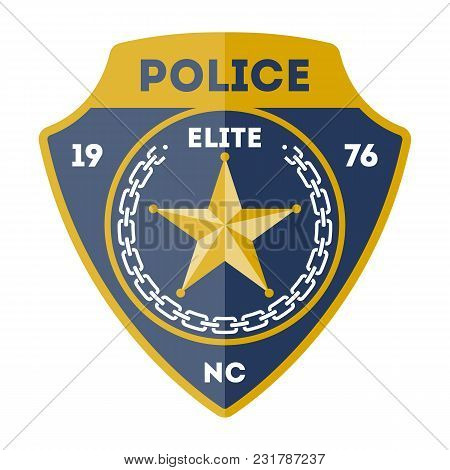 Elite Policeman Sign With Golden Star Icon Isolated On White Background Illustration. Federal Securi
