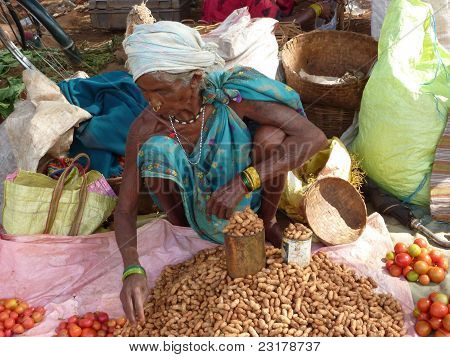Tribal Woman Sells Peanuts
