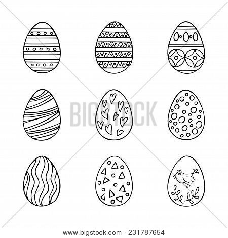 Easter Eggs Hand Drawn Icon Set In Line Style. Perfect Vector Design Elements For Decorations Card,