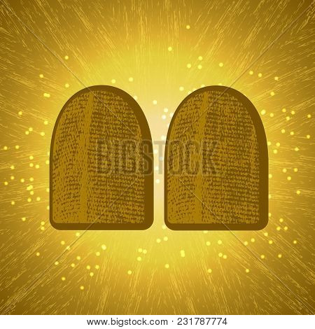 Shavuot. Concept Of Judaic Holiday. Tablets Of The Covenant Of Moses Bible Torah. Ten Commandments.