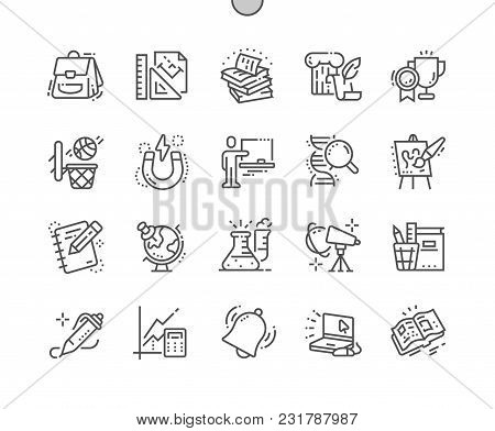 School Subjects Well-crafted Pixel Perfect Vector Thin Line Icons 30 2x Grid For Web Graphics And Ap