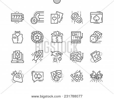 Gambling Well-crafted Pixel Perfect Vector Thin Line Icons 30 2x Grid For Web Graphics And Apps. Sim