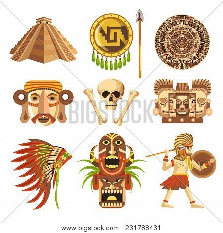Maya Traditional Attributes And Ancient Priceless Relics Set. Old Pyramids, Sharp Spear, Solid Shiel