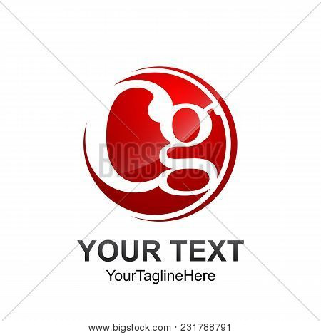 Initial Letter Cg Logo Template Colored Red Circle Design For Business And Company Identity