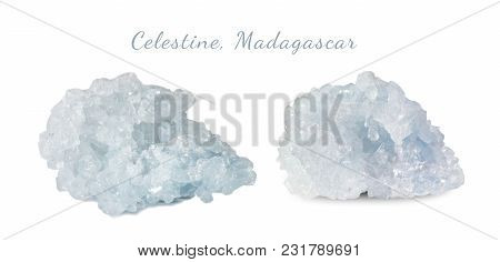 Macro Shooting Of Natural Gemstone. The Raw Mineral Is Celestine, Madagascar. Isolated Object On A W