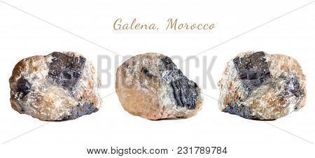 Macro Shooting Of Natural Gemstone. The Raw Mineral Galena, Morocco. Isolated Object On A White Back
