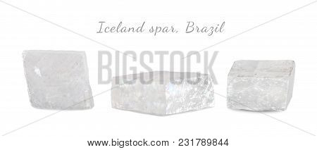 Macro Shooting Of Natural Gemstone. Raw Mineral Iceland Spar, Brazil. Isolated Object On A White Bac