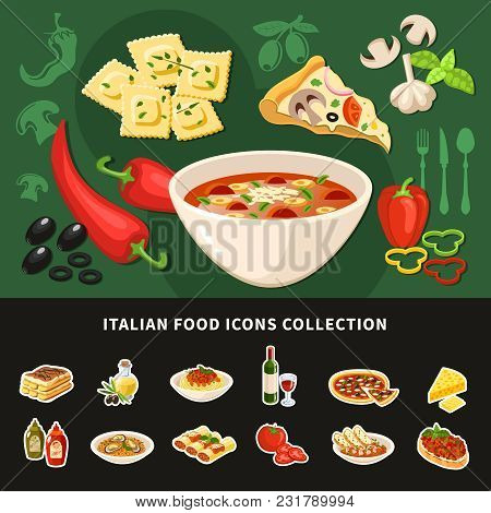Italian Food Icons Collection Of National Dishes With Ravioli Bruschetta Pizza Stuffed Cannelloni Mi