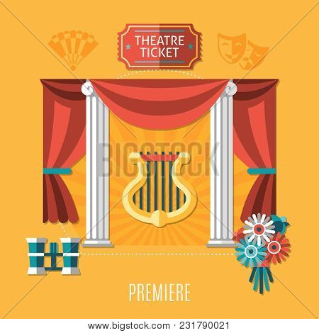Orange Theatre Composition With Theatre Ticket And Premiere Descriptions And Elements Of Attractions