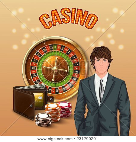 Man In Casino Realistic Composition With Big Orange Glowing Casino Headline And Lucky Gamer Vector I