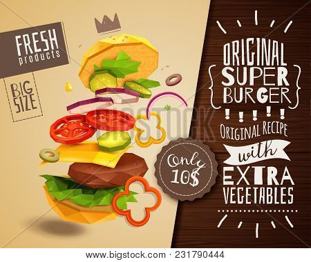 3d Hamburger On Beige Background With Beef Patty And Vegetables, Horizontal Poster With Product Adve
