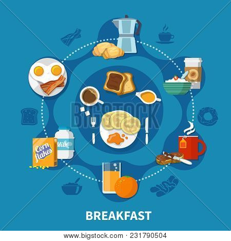 Variants Of Dishes And Drinks For Tasty Breakfast Colorful Concept On Blue Background Flat Vector Il