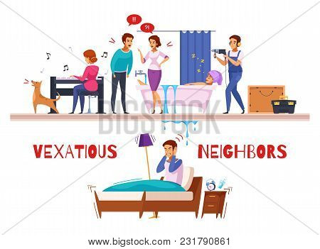 Neighbors Relations Cartoon Composition With Piano And Drill Sounds, Family Conflict, Flooding, Unha