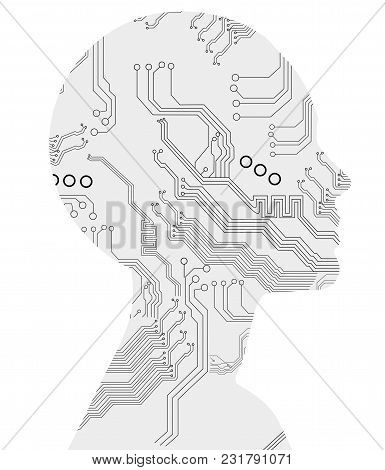 Silhouette Of Woman With Motherboard Texture. Artificial Intelligence Concept. Isolated On White.