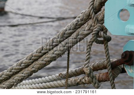 A Scene Of A Rope For Mooring A Ship Of A Harbor