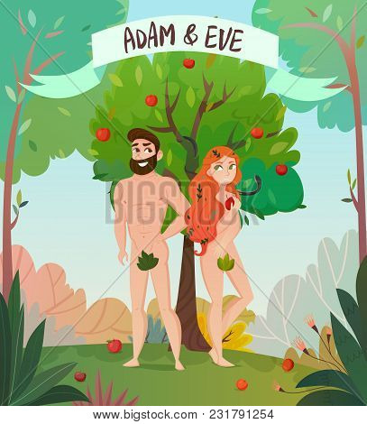Bible Story Design With Adam And Eve Symbols Flat Vector Illustration